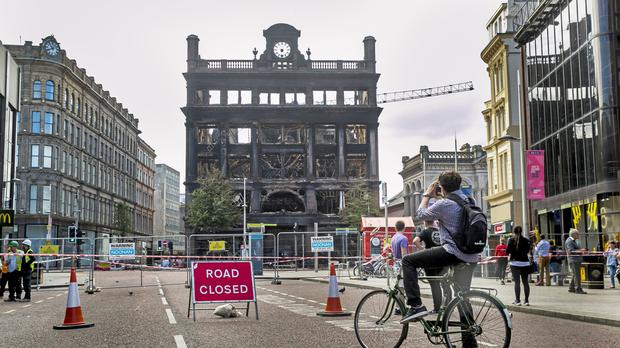 Last week, flames and thick black smoke engulfed the five-storey historic Bank Buildings which housed Primark (Liam McBurney/PA)