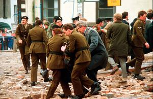 The aftermath of the Enniskillen bombing