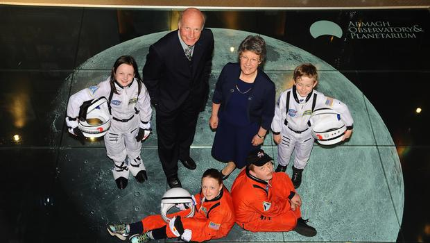 Michael Burton of Armagh Planetarium and astrophysicist Dame Jocelyn Bell-Burnell with local 'astronauts' Alanna Gray, Molly Monaghan, Jack Wilson and Ruben Finlay