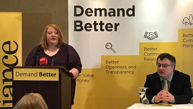 Alliance leader Naomi Long speaking at her party's manifesto launch (Rebecca Black/PA)