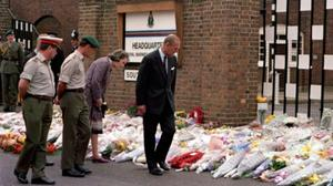 Prince Philip visiting the scene