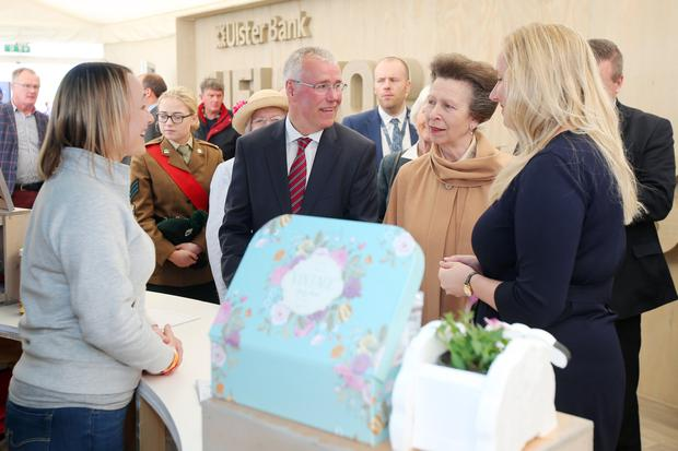 Princess Anne visits Ulster Bank's marquee with Richard Donnan, head of the bank in Northern Ireland