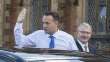 Taoiseach Leo Varadkar is greeted by Queen's University President and Vice-Chancellor James McElnay in Belfast