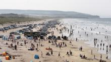 The busy Portstewart Strand at the weekend