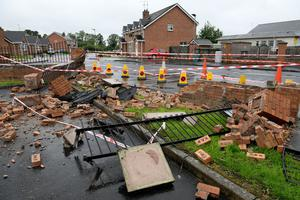The smashed wall at Edenderry Primary School