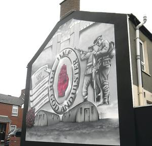 The new UVF wall mural in Carlingford street in East Belfast completed on Monday