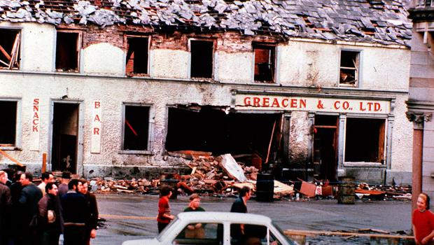 The devastation caused by a bomb in Monaghan