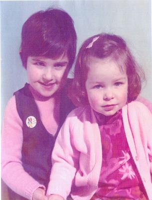 Ruth McQuillan-Wilson aged five with her two-year-old sister Lynda