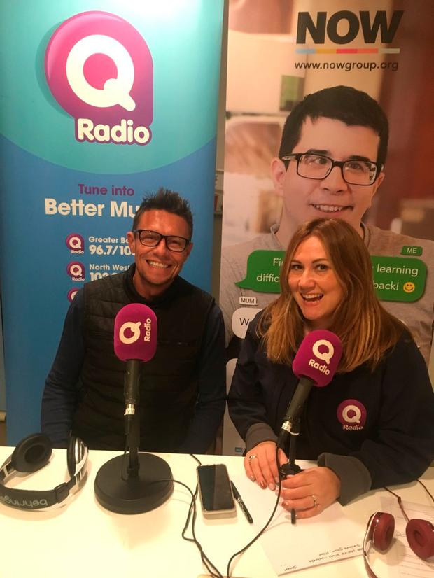 Stephen in the Q Radio studio with Cate Conway