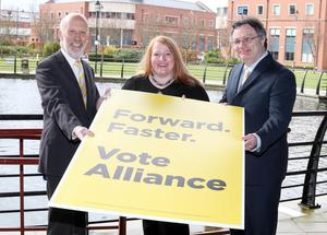Alliance leader David Ford with Naomi Long and Stephen Farry unveiled the party's candidates at the Radisson in south Belfast
