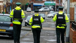PSNI officers patrol the student area of Belfast known as the Holylands. The area has been blighted by anti-social behaviour over previous years St Patrick's Day festivities.