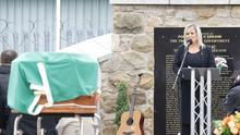 Michelle O'Neill speaking at Bobby Storey's funeral on Tuesday