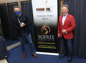 Paul Clarke getting dressed up by Chris Suitor of Suitor Brothers Tailoring Belfast