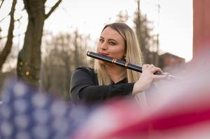 Flautist Martha Guiney, from Newry, who is set to perform at two Northern Ireland Bureau breakfast events supported by the Arts Council of Northern Ireland