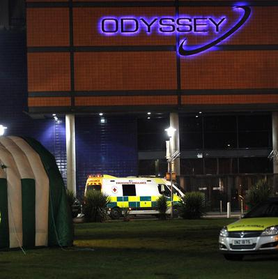 A medical tent and ambulances outside the Odyssey Arena in Belfast.