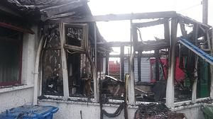 The blaze at Glengoland Gardens where a pensioner was rescued