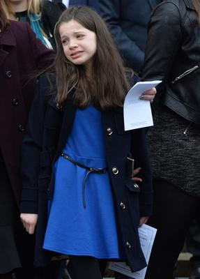 A young mourner at the funeral of Co Armagh teenager Lesley-Ann McCarragher