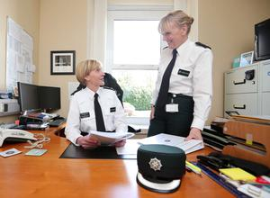 Detective Chief Superintendent Barbara Gray in her office with colleague Superintendent Paula Hilman