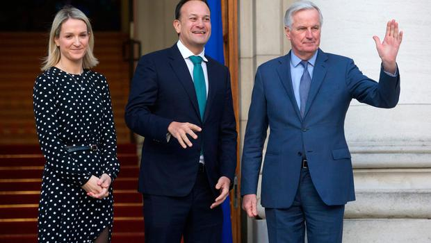 Mr Barnier with Taoiseach Leo Varadkar and Minister of State for European Affairs Helen McEntee in Dublin earlier