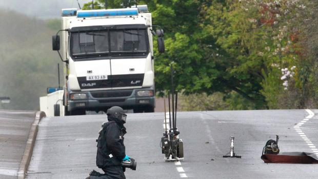 Bomb disposal officer at the scene of one of the alerts