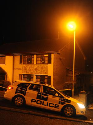 Police at the scene of the multiple stabbing incident in Ballyduff in Newtownabbey