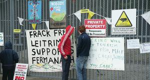 Peaceful fracking protesters at Belcoo quarry last week