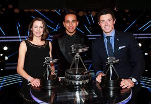 Lewis Hamilton, second placed Rory McIlroy (right) and third placed Jo Pavey (left)