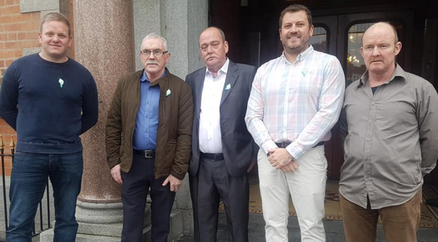 Saoradh's Newry chairperson Anthony Coyle (centre)