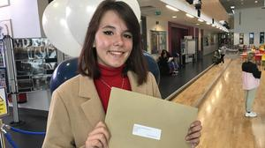 Tija Petruseviciute was among pupils receiving their GCSE results at Ashfield Girls High School in east Belfast on Thursday morning. (Rebecca Black/PA)