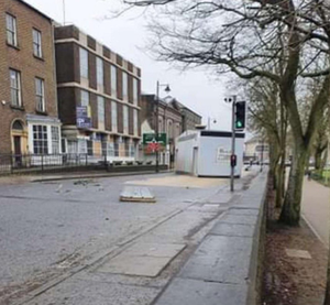 Aftermath: The scene in Armagh city following the incident
