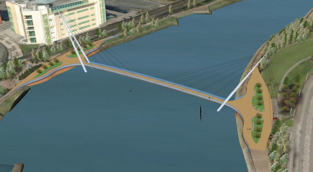 Artist's impression of the proposed new River Lagan bridge at Ormeau Embankment