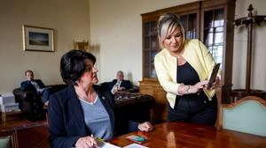 Behind the scenes at Stormont during the Covid pandemic with Deputy First Minister Michelle O'Neill and First Minister Arlene Foster (Liam McBurney/PA)