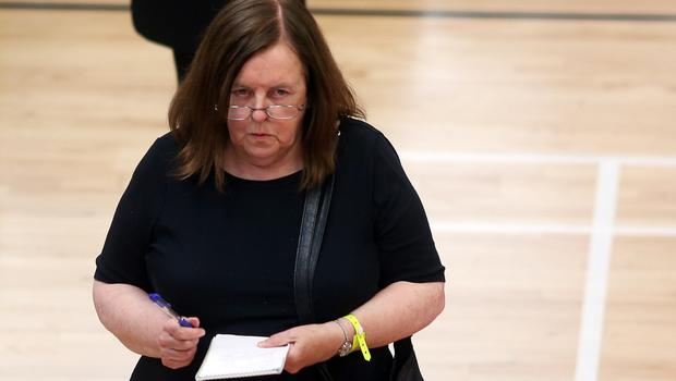 Bernadette McAliskey at the Assembly elections count for Foyle and East Londonderry in 2016