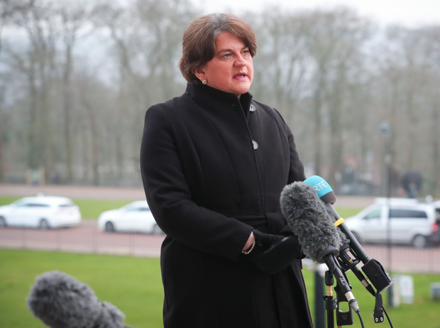 Strategy: First Minister Arlene Foster announces the roadmap out of lockdown at Stormont on Tuesday