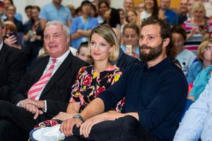 Actor Jamie Dornan with his sister Jessica Dornan Lynas and father Dr Jim Dornan at the launch of the NIPanC at the Mater Hospital in Belfast