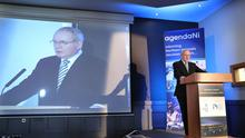 Deputy First Minister Martin McGuinness makes a speech at the Agenda Northern Ireland Economic Conference in the City Hotel in Derry yesterday