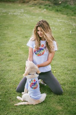 Photographer Khara Pringle and puppy Khalissi in the NHS T-shirts