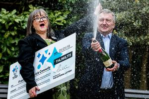 Frances Connolly celebrating with husband Patrick after their £115m win in January 2019