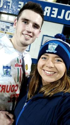 Newry City fan Laura Hillen with Newry player Mark McCabe