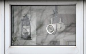 A night vision camera in the window