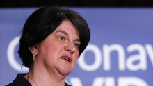 First Minister and DUP leader Arlene Foster at a Covid-19 briefing at Stormont last month