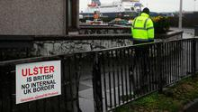 Anger: An anti-Brexit sign near the entrance to Larne Port