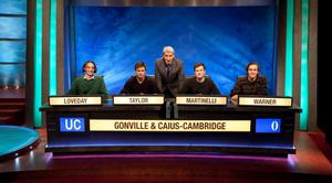 Bright spark: Michael Taylor with his teammates and presenter Jeremy Paxman on University Challenge