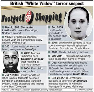 "September 24, 2013 -- Speculation is growing that the wife of Huddersfield suicide bomber Germaine Lindsay is involved in the Kenyan Westgate Shopping Mall terrorist attack. The British Foreign Office is investigating suggestions that Samantha Lewthwaite, nicknamed the ""White Widow"", was among the al-Shabaab militants involved in the seige. Graphic shows profile of Samantha Lewthwaite."