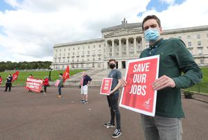 A socially-distanced protest has taken place at Parliament Buildings