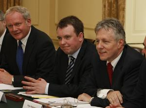 (From second left) Martin McGuinness, Richard Bullick, Peter Robinson and Alex Salmond, during a meeting between the leaders of the devolved administrations and Prime Minister David Cameron at Downing Street.