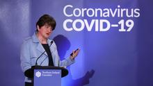 First Minister Arlene Foster at the daily press update on the Covid-19 crisis at Stormont yesterday