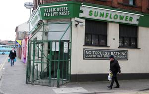 Shutters down at The Sunflower in Belfast city centre