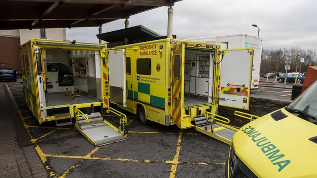 Ambulances parked at the entrance to Causeway Hospital's Accident and Emergency department in Coleraine, County Londonderry (Liam McBurney/PA)