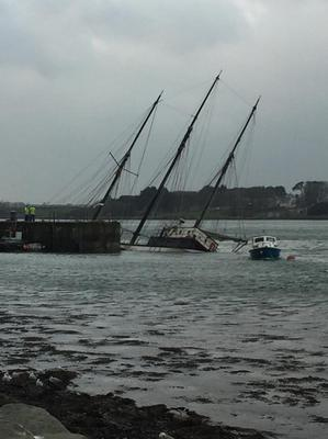 The foundered vessel off Portaferry quayside